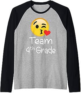 Cool Emoji Team Fourth Grade Teacher Gift for lover Raglan Baseball Tee