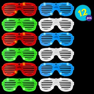 12 Lentes de Plástico con Luces LEDs/Gafas - Colores surtidos - Ideal para bolsas de juguetes para fiestas - Navidad, decoración de Halloween y regalos.