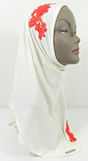 Flower Instant Hijab One Piece Amira Style Lycra Slip On Scarf Shawl Easy (11 - White/Red)