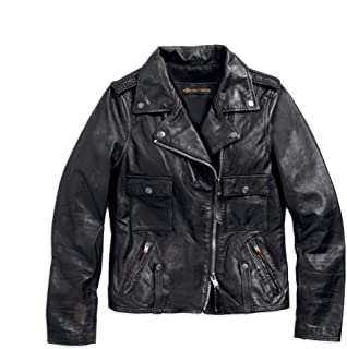 Women's Wild Distressed Leather Biker Jacket, Black