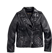 HARLEY-DAVIDSON Women's Wild Distressed Leather Biker Jacket, Black
