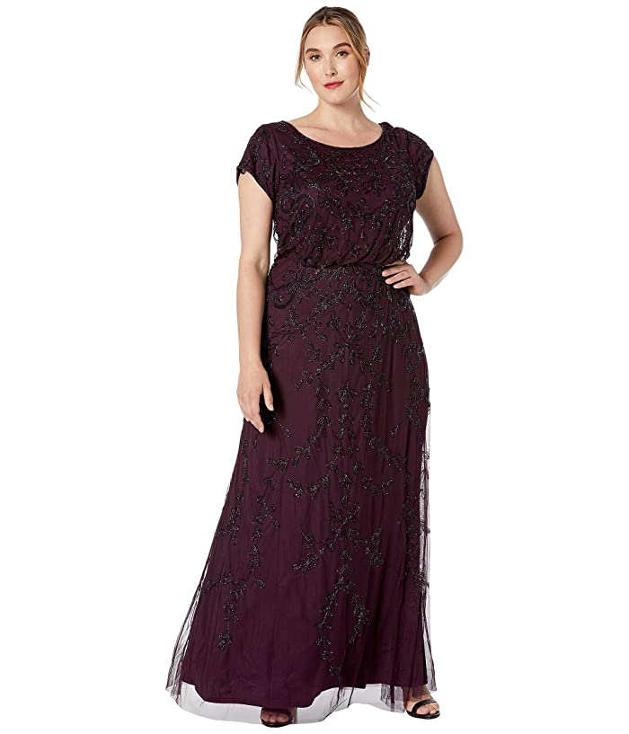 Adrianna Papell Plus Size Long Fully Beaded Blouson Dress ...
