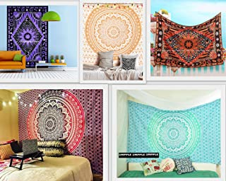 Future Handmade Wholesale 5 Twin Tapestries Wall Hanging Ombre Mandala Tapestry Sun Moon and Stars Tapestry Wall Decor Home Decoration 100% Cotton Bedspreads