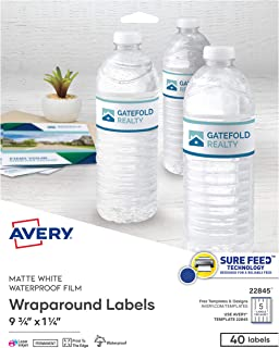"""Avery Printable Blank Wraparound Rectangle Labels, 1.25"""" x 9.75"""", Matte White, 40 Customizable Labels (22845)"""