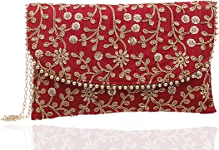 Kuber Industries Women's Handcrafted Embroidered Clutch Bag Purse Handbag for Bridal, Casual, Party, Wedding (Red, Maroon)...