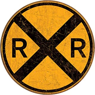 "Desperate Enterprises Railroad Crossing Tin Sign, 11.75"" Diameter"