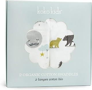 Manta de algodón 100% orgánico ~ 2 unidades, prelavada, algodón sin blanquear, increíblemente suave, 120 cm x 120 cm, manta de muselina de algodón para bebé, 2 hermosos diseños ~ osos y lunas.