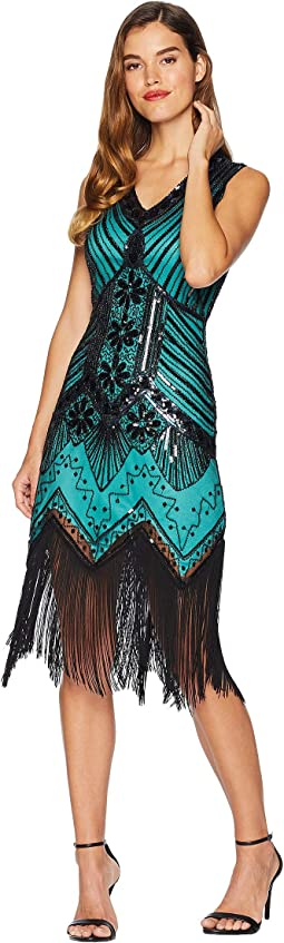 1920s Deco Veronique Fringe Flapper Dress
