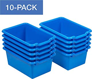 ECR4Kids Scoop-Front Storage Bins, Easy-to-Grip Design Storage Cubbies, Kid Friendly and Built to Last, Pairs with ECR4Kids Storage Units, 10-Pack, Blue