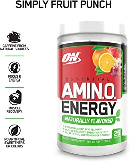 OPTIMUM NUTRITION Naturally Flavored ESSENTIAL AMINO ENERGY, Simply Fruit Punch, Keto Friendly Preworkout and Essential Amino Acids with Green Tea and Green Coffee Extract, 7.94 Ounce (Pack of 1)