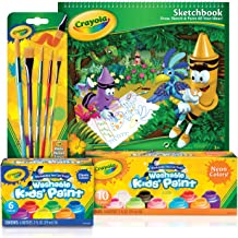 Crayola Washable Paint Set, Premium Quality and Wide Colour Palette – 6 Classic Colours, 10 Neon Bright Colours, 5 Brushes, 40pg Sketchbook – Perfect Gift for Kids, Students.