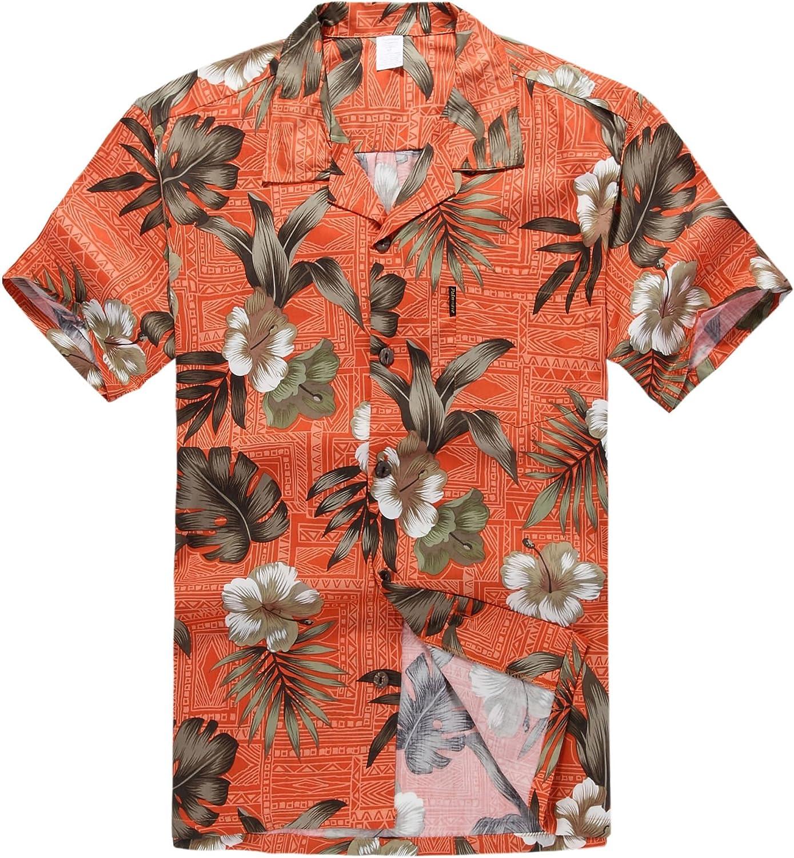 Palm Wave Hombres Aloha Camisa Hawaiana en Naranja Hibisco