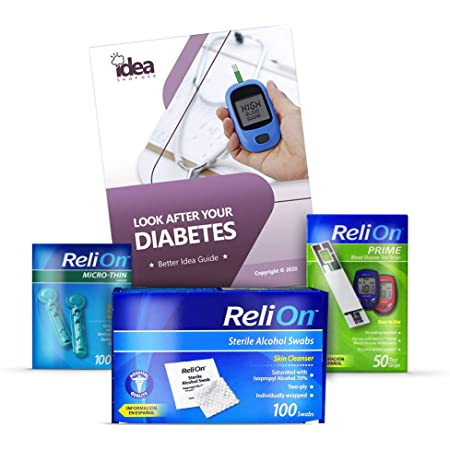Diabetes Relion Bundle of 03 Products + Free Better Idea Guide - STERILE Alcohol SWABS 100ct | Test Strips 50ct | Micro-Thin LANCETS 33G 100ct