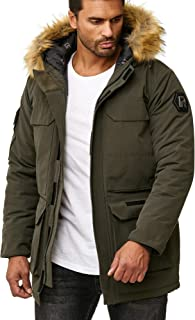 Red Bridge - Men's Modern Thick Winter Jacket with Furry Hood -