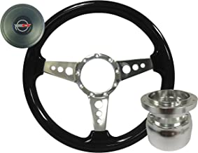 Volante S9 Black Ash Finished Wood Tri Spoke Steering Wheel Racer Kit compatible with 1984-1989 Chevrolet C4 Corvette