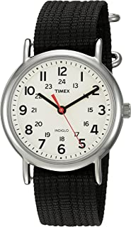 Timex Unisex TWC027600 Weekender Cream/Black Nylon Slip-Thru Strap Watch
