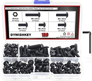 DYWISHKEY 150 Pieces M5 x 8mm/10mm/12mm/16mm/20mm, 10.9 Grade Alloy Steel Hex Button Head Cap Bolts Nuts Kit with Hex Wrench