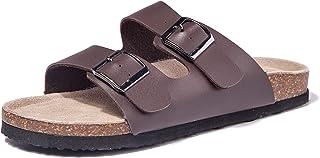 TF STAR Women Arizona 2-Strap Adjustable Buckle, Flat Casual Cork Slide Sandals,Slide Cork Footbed Sandals for Women/Ladies/Girls