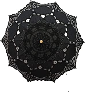 Lace Wedding Umbrella Parasol For Bride Cotton Fashion Wooden Handle Decoration Umbrella Black