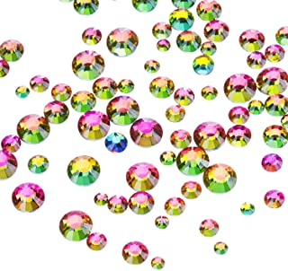 Outus 1000 Pieces Multi AB Color Flat Back Rhinestones Round Crystal Gems 2 mm - 5 mm 5 Sizes