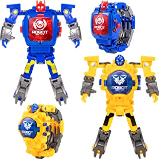 Pangda 2 Pieces Transforming 2 in 1 Robot Watch, Digital Electronic Watch Robot Watch Transform Watch for Kids, Suitable for Boys and Girls 3 Years Old and Above (Blue, Yellow)