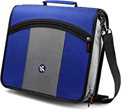 Kinbashi 3-Inch Zipper Binder, Round Ring Binder with Expanding Files, Handle and Shoulder Strap, Blue