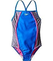Speedo Kids - Heather Splice One-Piece Swimsuit (Big Kids)