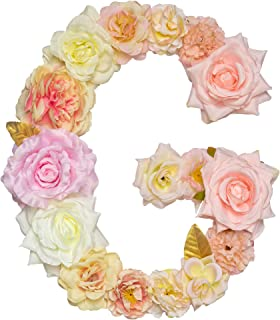 ZHENHAN Artificial Decorative Letter with Flowers, Pink, 12.2