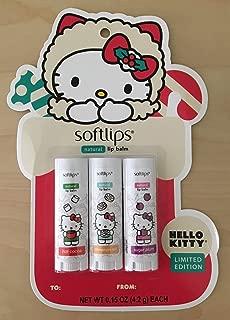 Softlips Limited Edition Hello Kitty Holiday Natural Lip Balm - Hot Cocoa, Cinnamon Roll, Sugar Plum 0.15 oz / 4.2 g