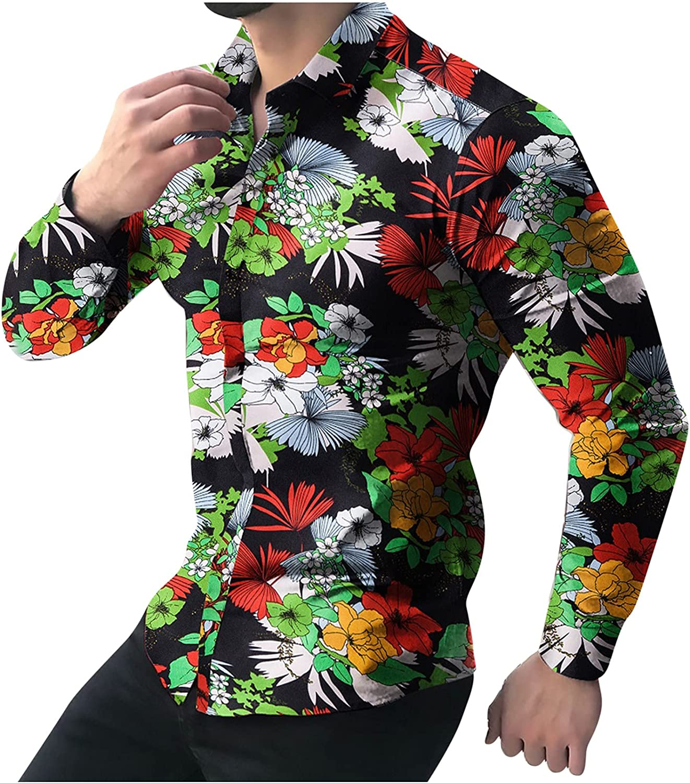 CofeeMO Bravetoshop Men's Business Dress Shirt Long Sleeve Casual Fashion Floral Print Button Down Shirts