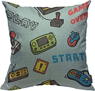 Mugod Gamer Devices Throw Pillow Cover Video Game Backdrop Button Cartridge Controller Design Decorative Square Pillow Case for Home Bedroom Living Room Cushion Cover 18x18 Inch