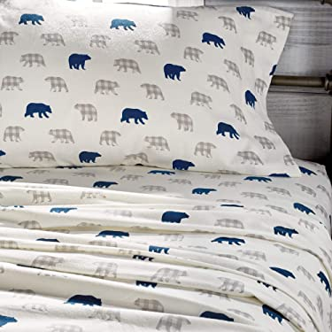 G.H. Bass Bear Plaid 100% Cotton Flannel Sheet Set, Flat, Fitted, 2 Pillowcases, King, Navy
