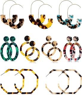 8-9 Pairs Acrylic Tortoise Dangle Earring for Women Boho Resin Statement Drop Hoop Earrings Fashion Jewelry