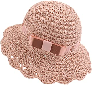 Baby Girl Straw Hat Outdoor Baby Sun Protection Hats Summer Bowknot Beach Cap for Infant Toddler Girls