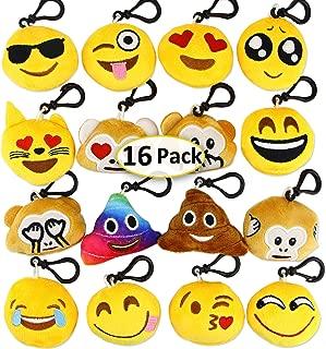 Dreampark Emoji Keychain Mini Cute Plush Christmas / Birthday Party Supplies Favors, Emoticon Key Chain Toy Kids Carnival Prizes, 2