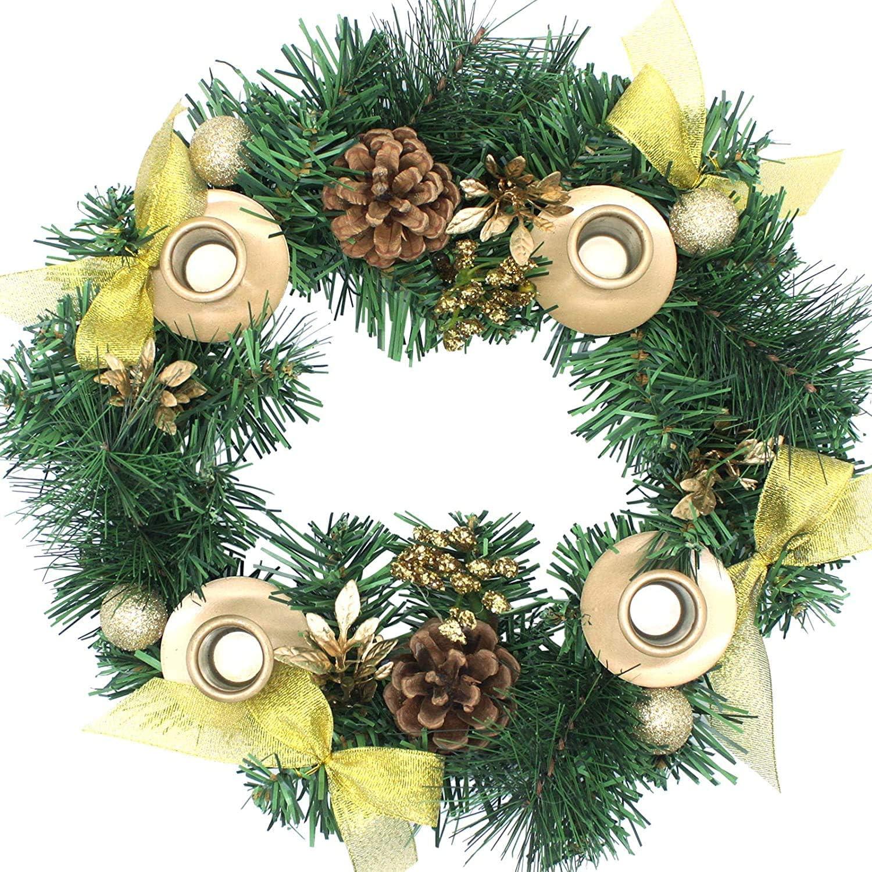 Christmas Advent Wreath - for Advent Calendar Season Candle Holder –Centerpiece Décor – Advent Candle Holder and X-mas Candles Decorations