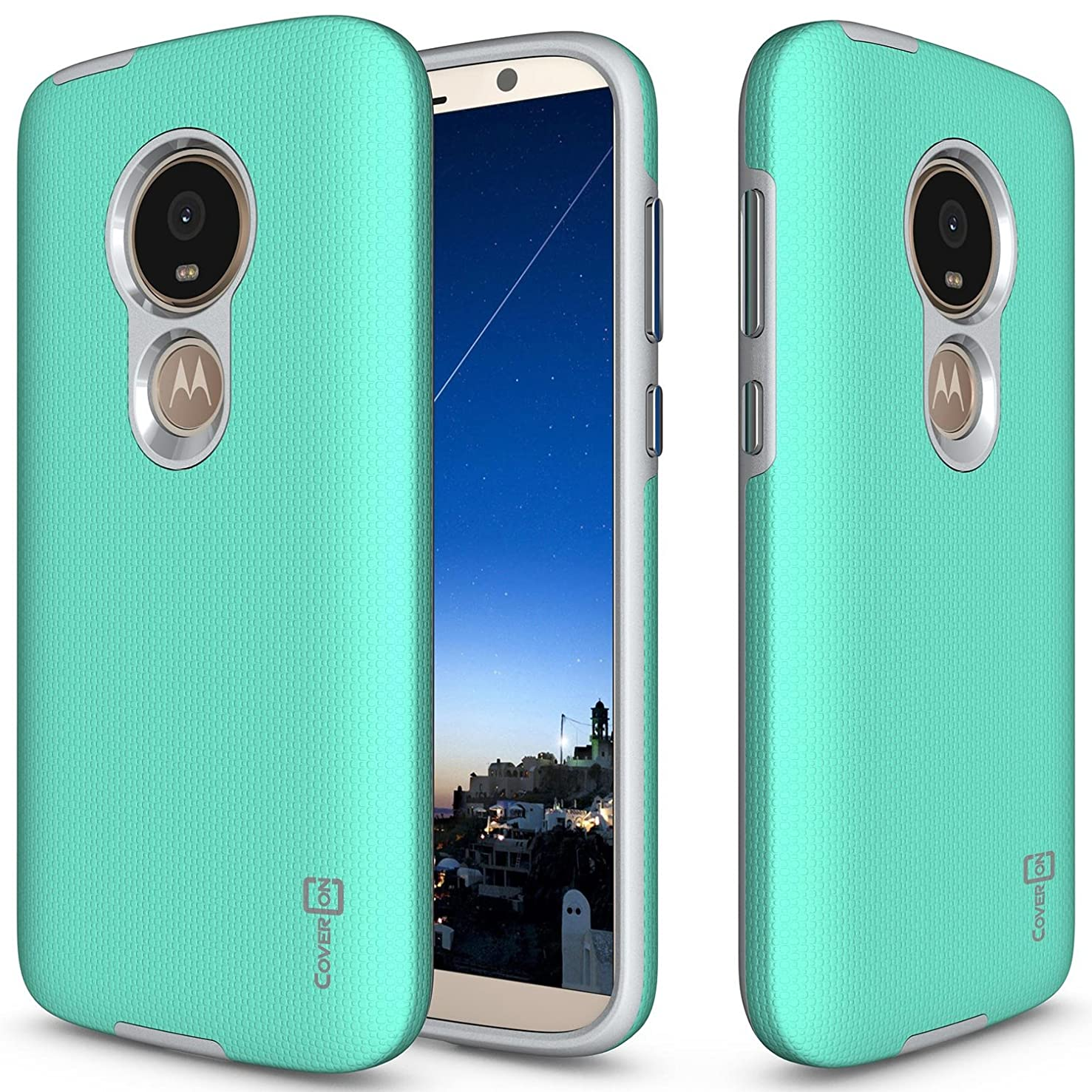 Motorola Moto E5 Play Phone Case, Motorola Moto E5 Cruise Phone Case, CoverON Rugged Series Protective Heavy Duty Hard Phone Cover with Metalized Button Covers - Mint Teal