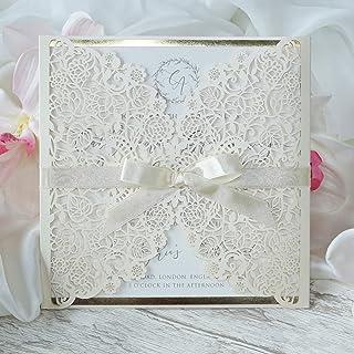 Crema chiara opaca Partecipazioni matrimonio taglio laser fai da te inviti matrimonio carta con busta - campione prestampa...