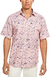 Tommy Bahama Mens Shirt Pink US Size Medium M Sun Coral Fronds Classic