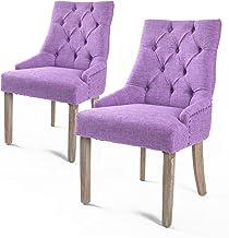 La Bella 2X French Provincial Oak Leg Chair Amour - Violet