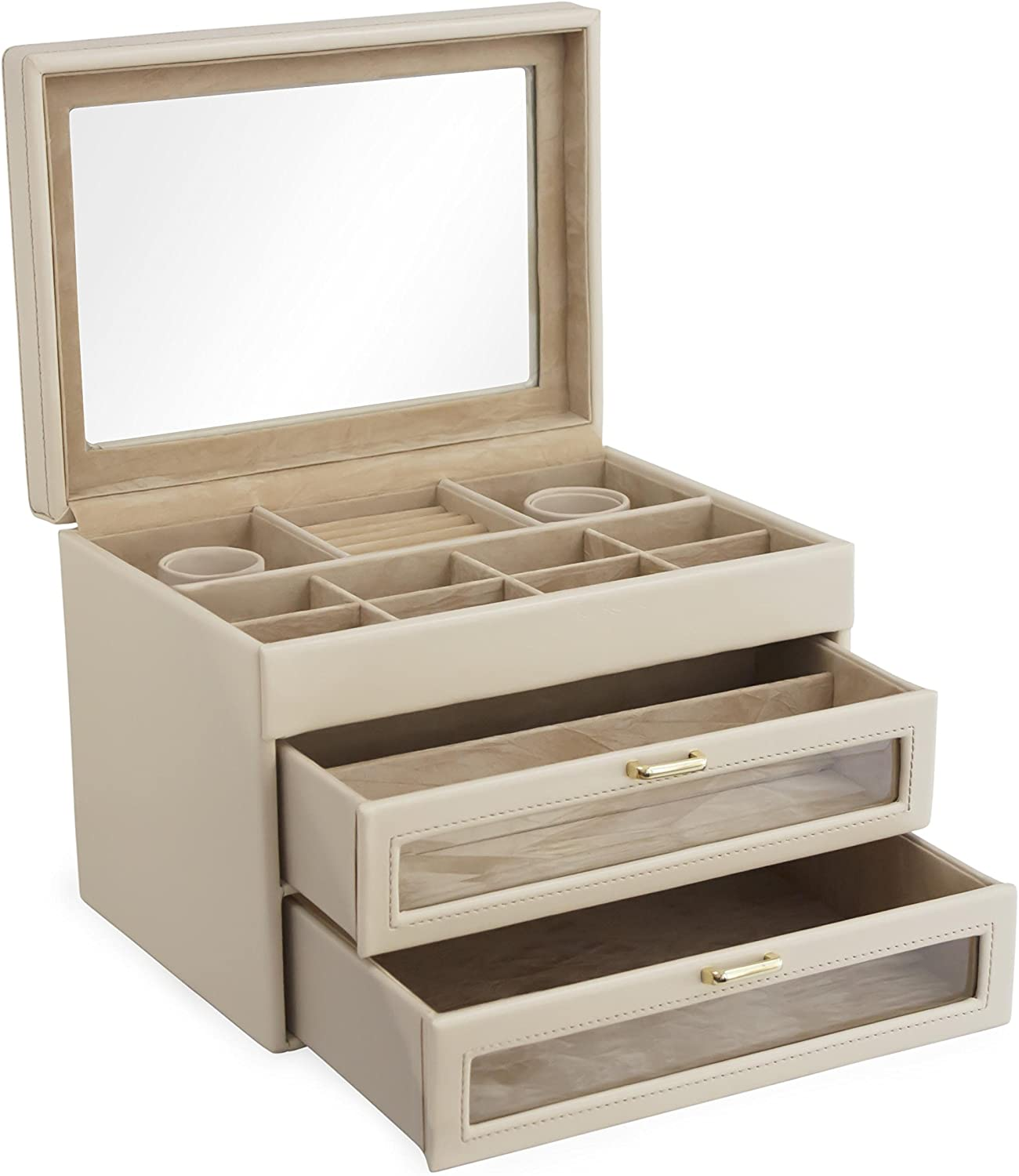 Cordays - Large Jewellery Box Handcrafted in Premium Quality with Glass Lid and 2 Drawers- Almond CDL-10022