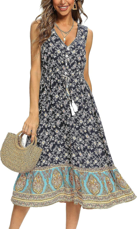 COMELY Womens Sleeveless Floral Boho Maxi Dress V Neck Split Beach Sundress with Drawstring