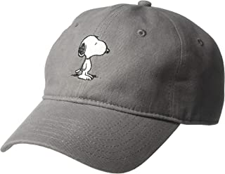 Peanuts Mens Embroidered Snoopy Baseball Cap Baseball Cap One Size Grey