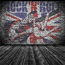 AOFOTO 6x6ft Rock Music Guitar Graffiti Brick Wall Photography Backdrop Punk Band Background Vintage Nostalgia Photo Studio Props Fashion Stylish Youngster Boy Girl Kid Portrait Vinyl Wallpaper