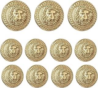 Lion Head Circular Metal Vintage Button, for Coat, Blazer, Suits, Uniform, Jacket, etc (Gold), 11 Pcs