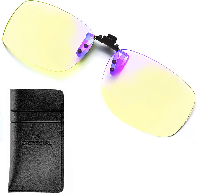 CREYESTAL Clip para Gafas Luz Azul Alta Protección Antifatiga, Filtro de Pantalla para Computadora Tablet Videojuegos, Certificado CE