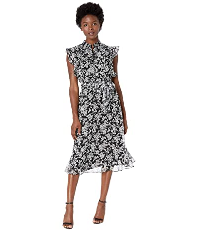 LAUREN Ralph Lauren Petite Floral Georgette Dress (Polo Black/Silk White) Women