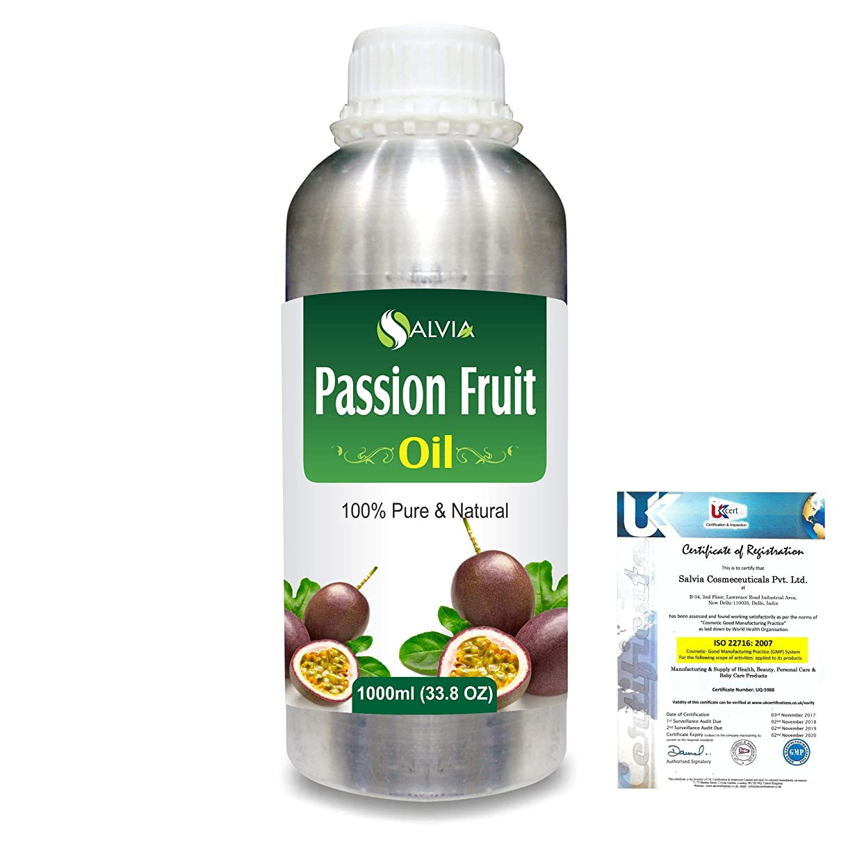 平均面白いギャンブルPassion Fruit (Maracuja) Natural Pure Undiluted Uncut Carrier Oil 1000ml/33.8 fl.oz.