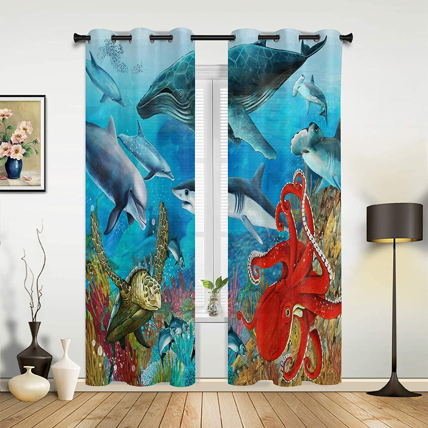 Window Curtains Drapes Max 78% OFF Panels Ocean Max 71% OFF Underwater Dream World Scary