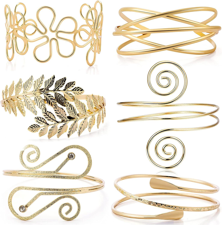 EIELO 6 Pieces Arm Cuff Bracelets for Women Upper Arm Bands Armband Armlet Cuff Bangle Adjustable Gold Arm Bracelet Set